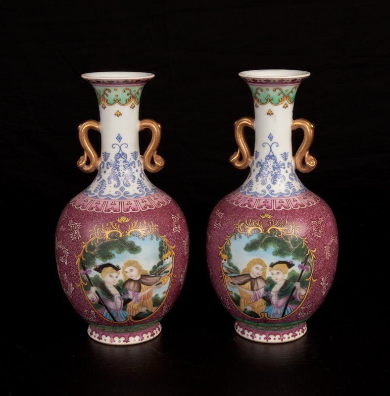 56: Pair of Chinese Export Style Vases
