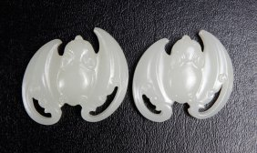 5: Pair of Chinese Glass Bat Plaques