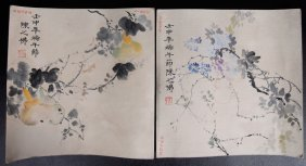22: 2 Chinese Watercolor Paintings