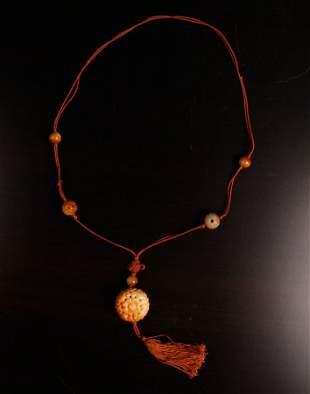 Chinese Jade or Hardstone Pendant Necklace