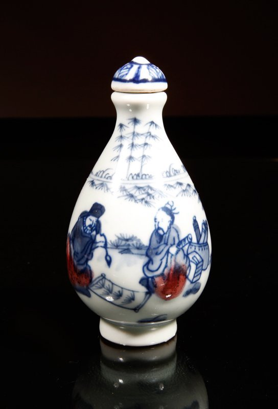 6: Chinese Blue & Red Porcelain Snuff Bottle
