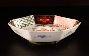 Chinese Imari 6-Sided Porcelain Bowl