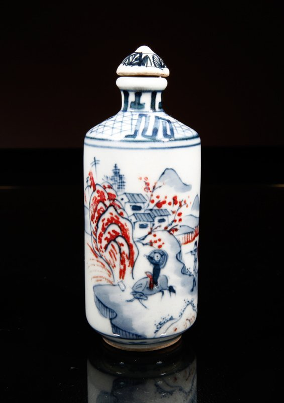 18: Chinese Blue & Red Porcelain Snuff Bottle