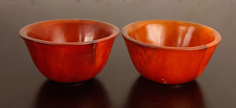66: Pair of Chinese Carved Rhino Horn Bowls