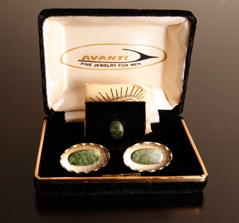 8: Sterling & Jade Cufflinks and Tie Clip