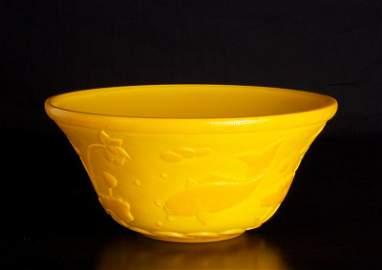 53: Chinese Peking Glass Imperial Yellow Bowl