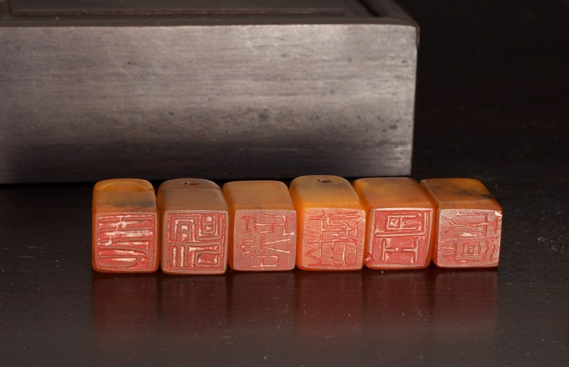 151: 6 Chinese Tianhuang Seals in Zitan Wood Box - 2