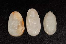 176: 3 Chinese Carved Hardstone Pendants