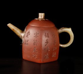 Chinese Yixing & Jade Teapot