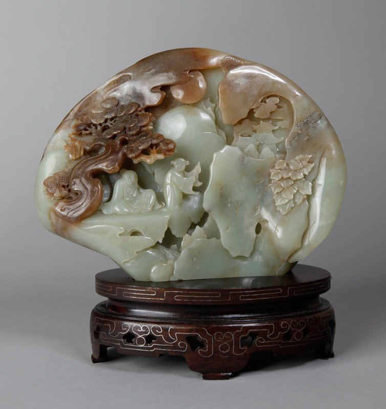 Chinese Carved Jade Boulder on Stand