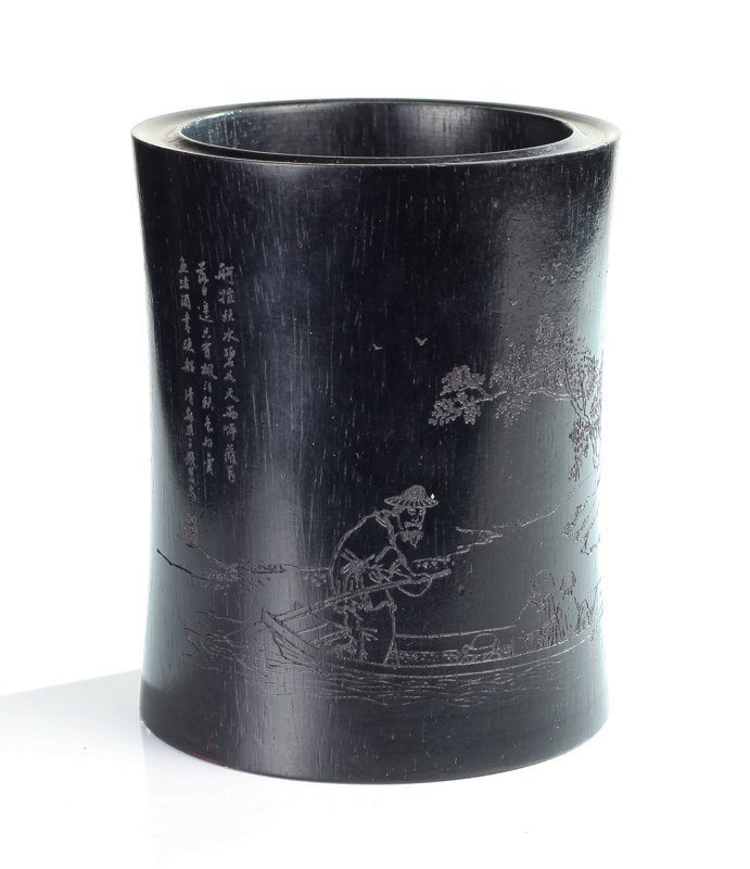 Chinese Carved Tan Wood Brush Pot