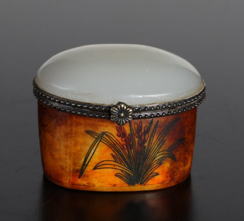 Chinese Miniature Box with Jade or Hardstone