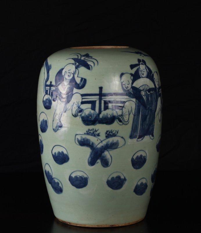 Chinese Bue & White Porcelain Jar