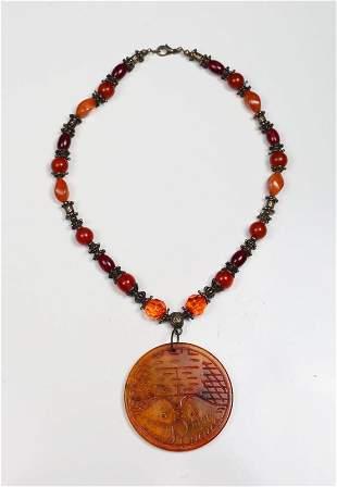 Chinese Hardstone Medallion Necklace