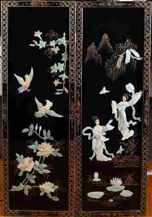 2 Chinese Black Lacquer & MOP Wall Panels