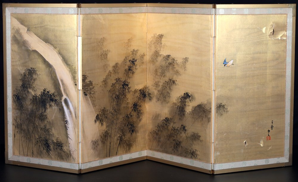 Signed Japanese Folding Screen Painting on Silk