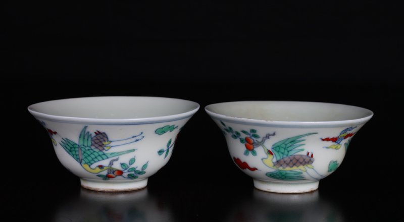 Pair of Chinese Dou Cai Porcelain Tea Bowls