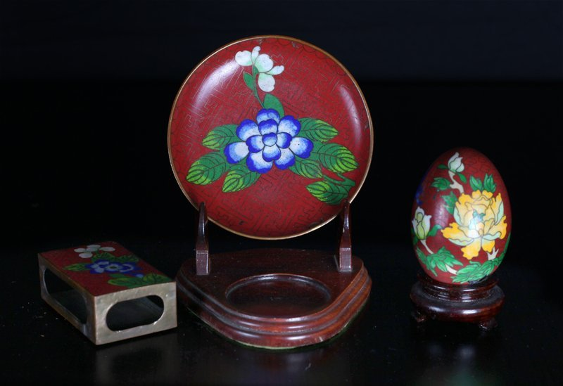 Chinese 3 Piece Cloisonne
