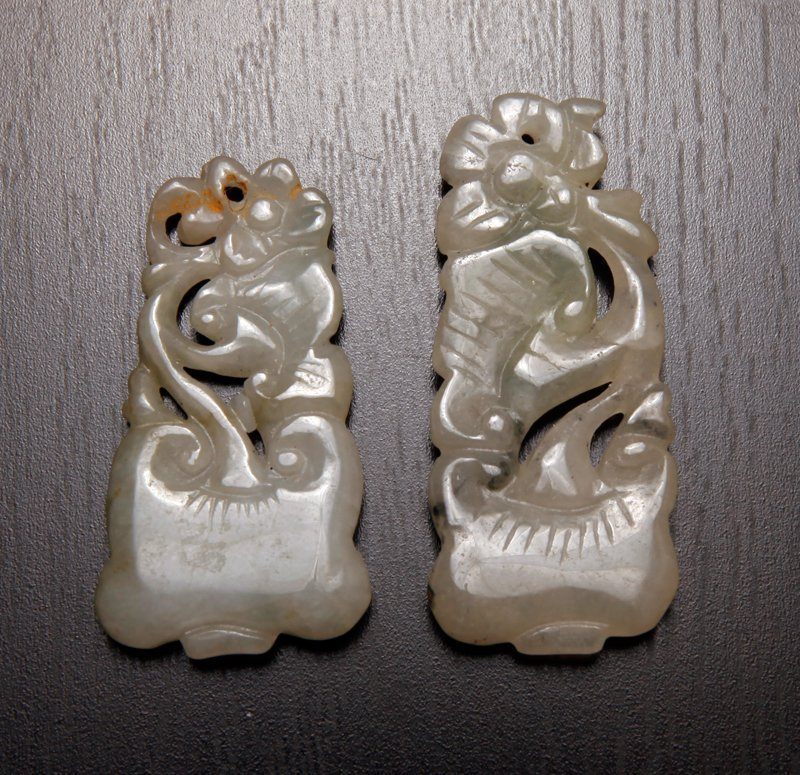 2 Chinese Carved Jade Plaques