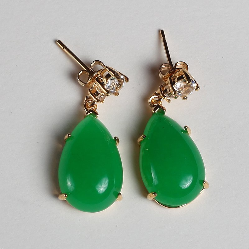 Pair of Chinese Hardstone Earrings