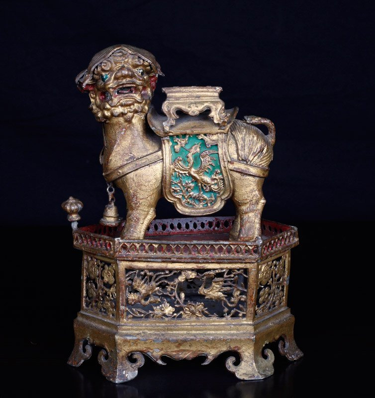 19th C. Chinese Gilt Silver Foo Dog of Wealth