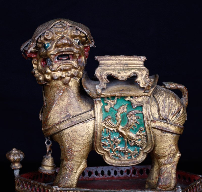 19th C. Chinese Gilt Silver Foo Dog of Wealth - 2