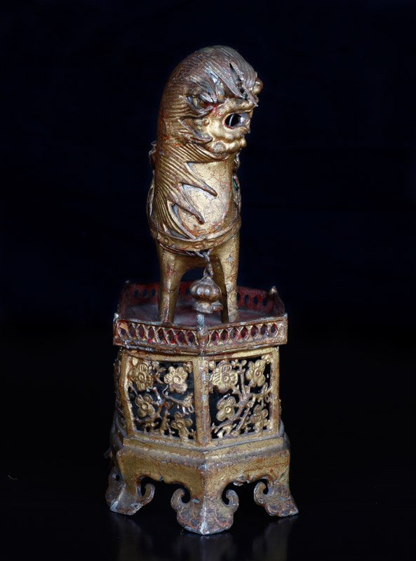 19th C. Chinese Gilt Silver Foo Dog of Wealth - 5