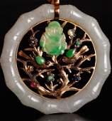 Chinese Jade, Jadeite, Stone & Gold Pendant