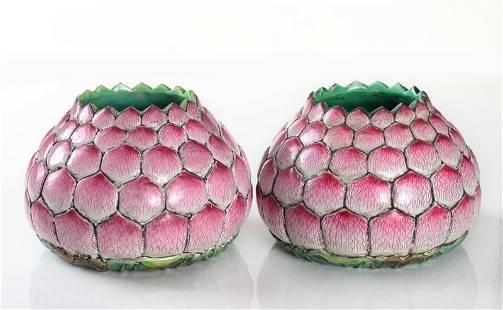 Pair of Chinese Porcelain Lotus Brush Washers
