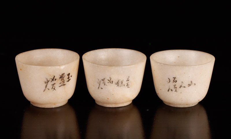 3 Japanese Soapstone Miniature Cups