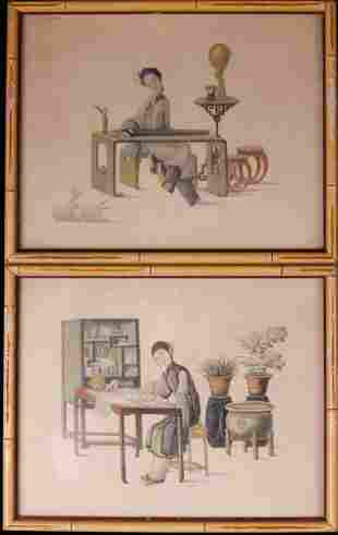 Pair of Japanese Colored Lithographs
