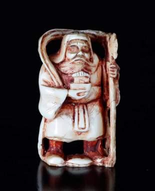 Japanese Polychromed Carved Bone Netsuke
