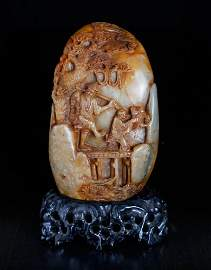 Chinese Carved Shoushan Boulder on Stand