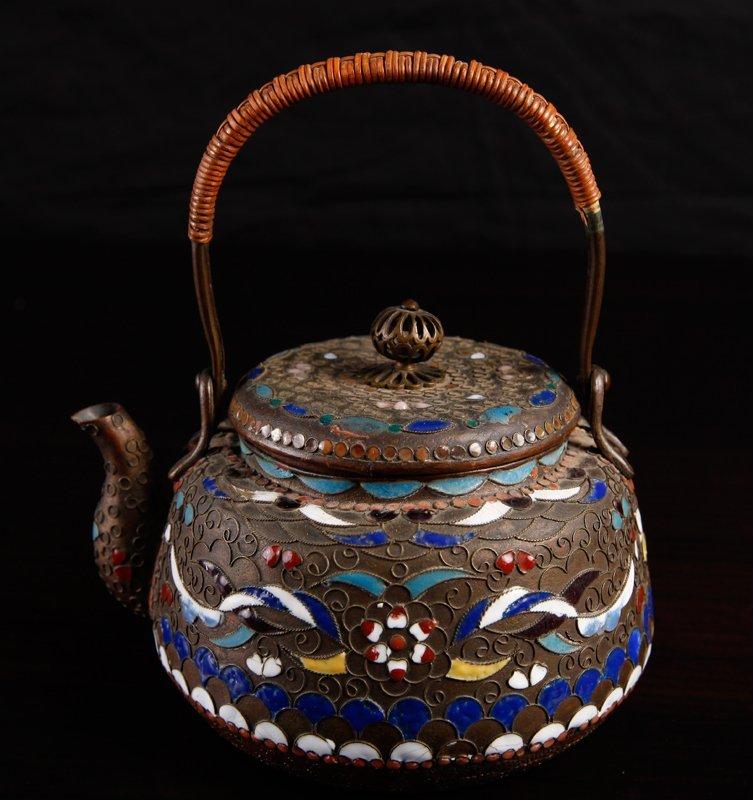 Chinese Copper & Enameled Tea Pot