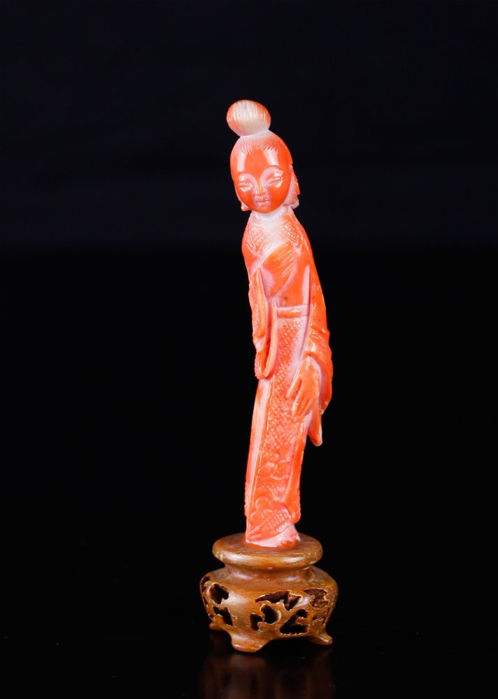 Chinese Carved Coral Statue