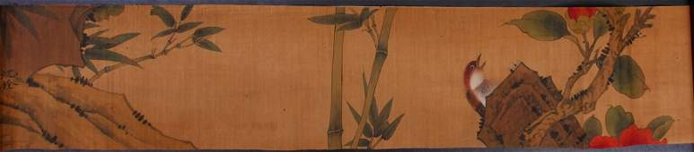 Chinese Watercolor Painting in Bamboo Case