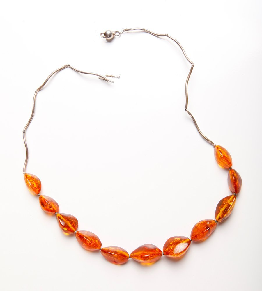 Chinese Natural Amber & Sterling Necklace