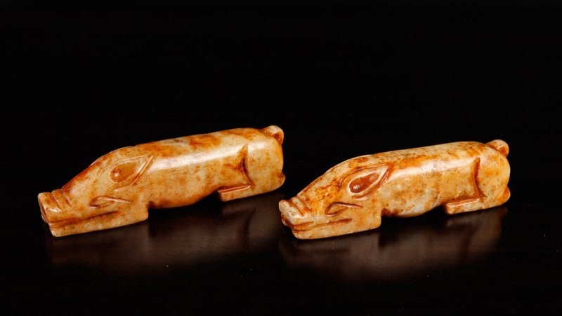 Pair of Chinese Carved Hardstone Pigs