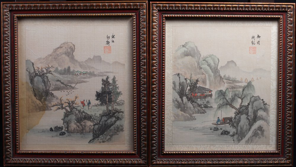 Pair of Chinese Watercolor Paintings