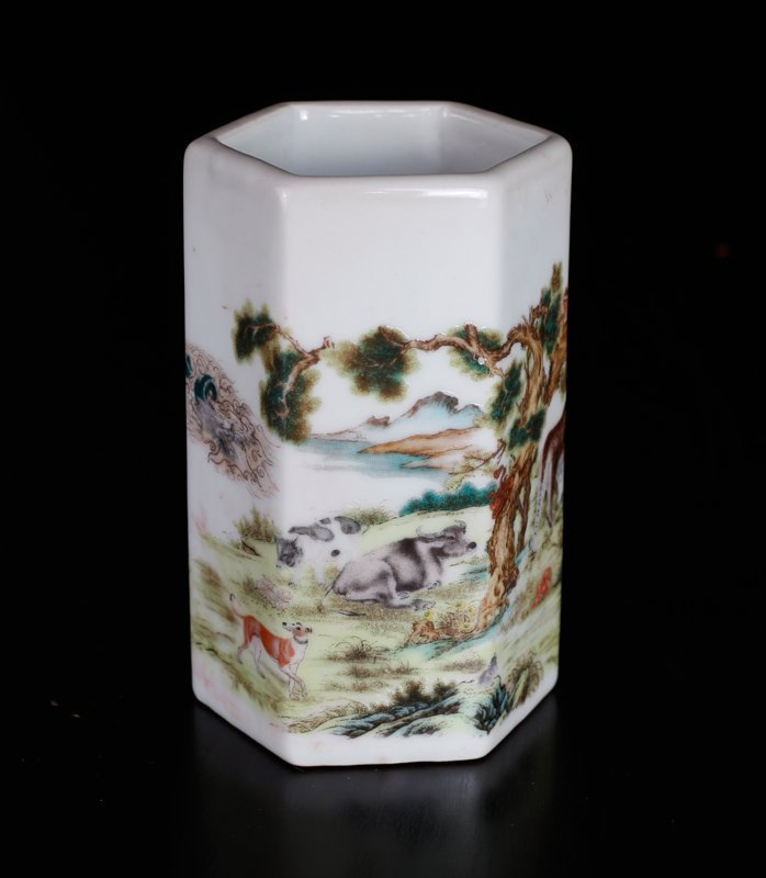 Chinese Republic Style Brush Pot - 4