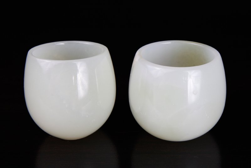Pair of Chinese Carved Stone Cups