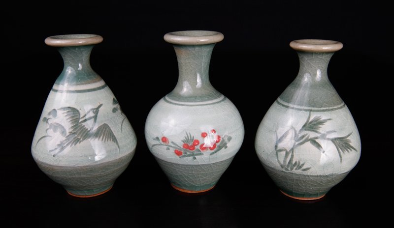 3 Korean Celadon Miniature Vases