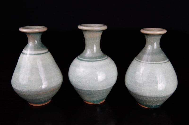 3 Korean Celadon Miniature Vases - 2