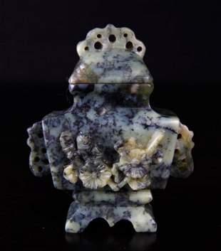 Miniature Chinese Republic Soapstone Urn in Box