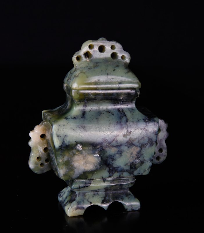 Miniature Chinese Republic Soapstone Urn in Box - 5