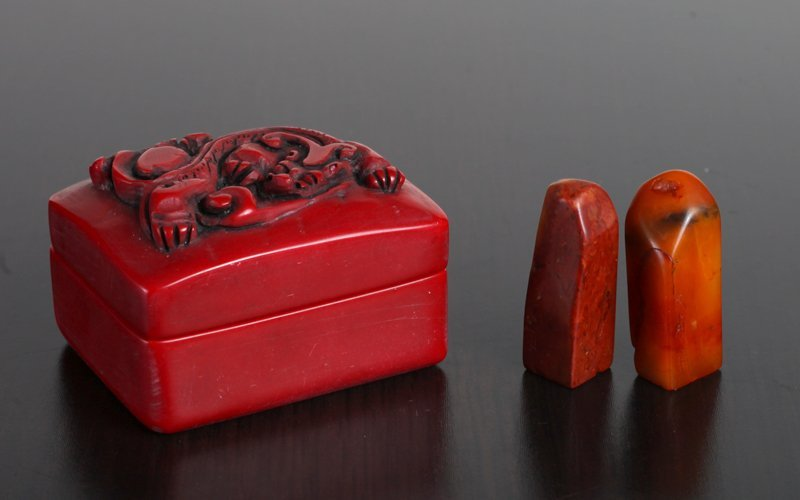 Pair of Chinese Stone Seals in Stone Box