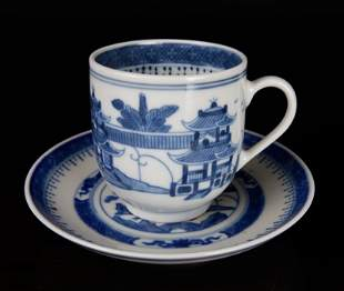 18th C. Chinese Export Canton Blue & White Teacup &
