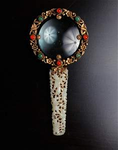 A Fine Chinese Export Jade Handled Magnifying Glass