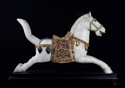 Chinese Bone and Jeweled Enameled Horse