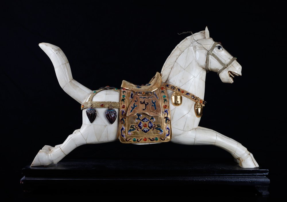 Chinese Bone and Jeweled Enameled Horse